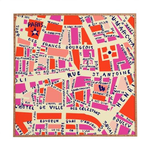 Deny Designs Holli Zollinger, Paris Map Pink, Framed Wall Art, Small, 12'x 12'