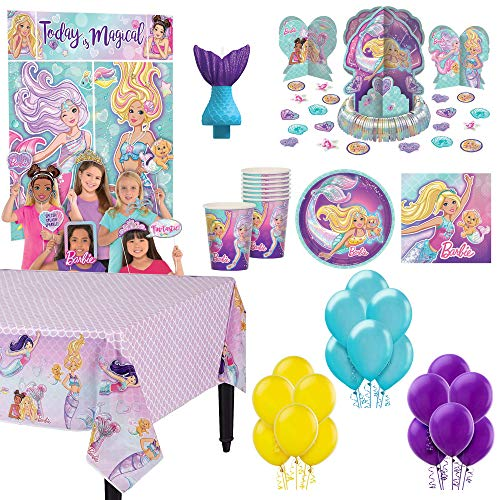 'Barbie Mermaid' Birthday Party Supplies and decorations Pack For 16: Plates, Napkins, Cups, Tablecover, Decorating table kit, Candle,Wall decoration kit and Balloons AMSCAN