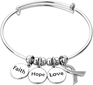 Fight Cancer Ribbon Faith Hope Love Expendable Bangle Bracelets Stainless Steel Jewelry