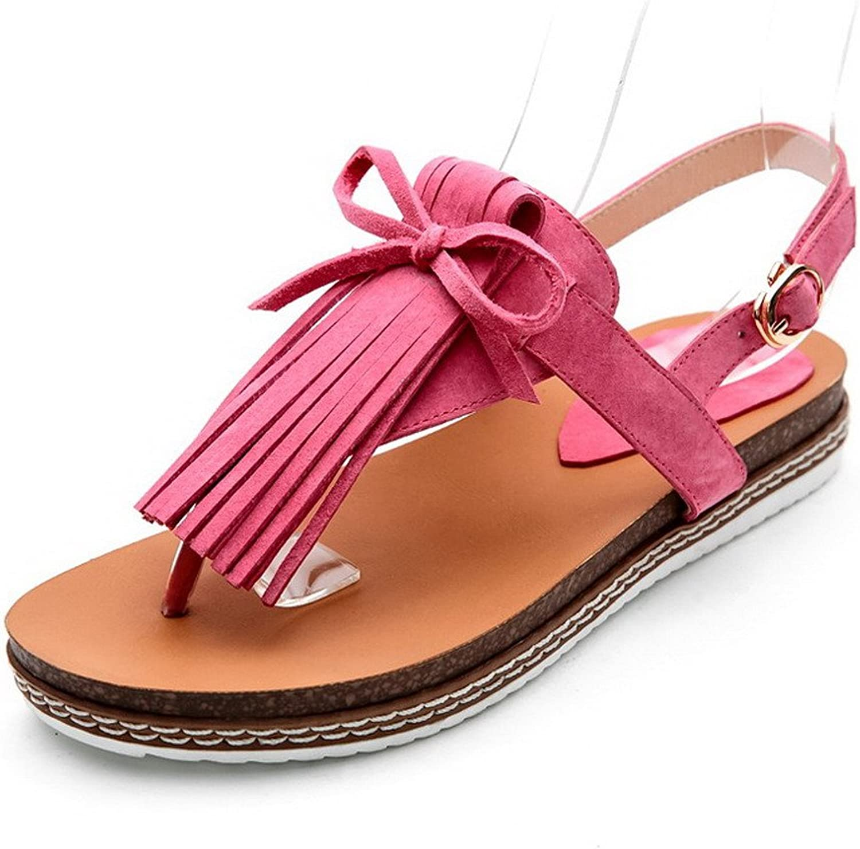 AmoonyFashion Women's Split Toe Low Heels Frosted Fringed Buckle Sandals