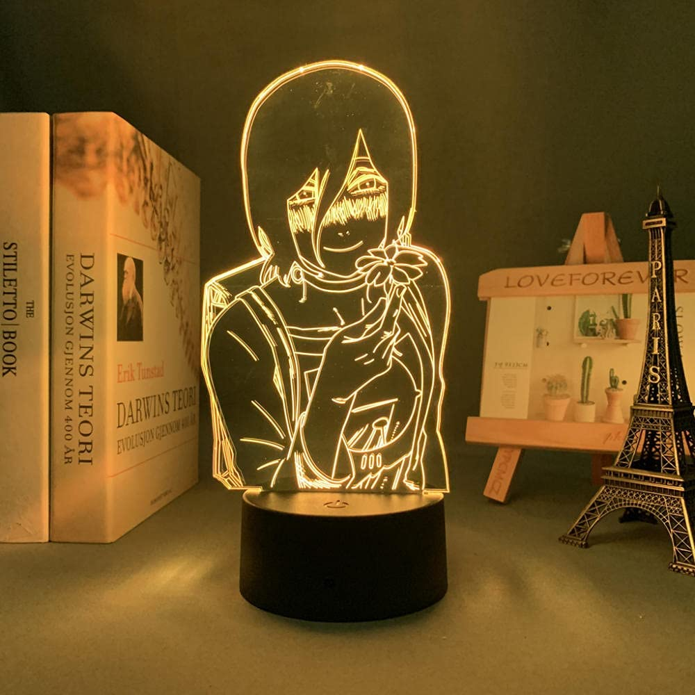 Lámpara de anime 3D para niños, motosierra LED y hombre Lady Reze Bomb Devil para decoración de dormitorio, motosierra de manga y hombre, luz led junto a la cama para regalo de cumpleaños