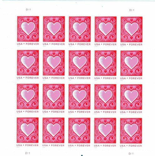 Cut Paper Heart Love Series Forever Stamp Full Sheet of 20 Scott 4847