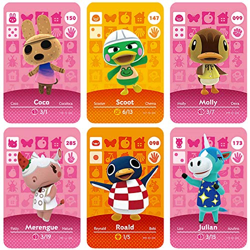 NFC Amiibo Cards for Animal Crossing New Horizons Merengue, Molly, Coco, Roald, Julian, Scoot