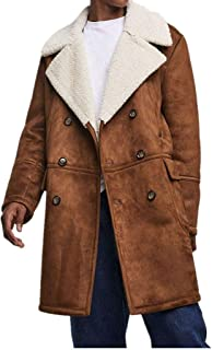 Men Winter Lapel Neck Double Breasted Faux Fur Shearling Lined Long Suede Jacket Coat