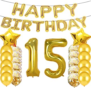 Sweet 15th Birthday Decorations Party Supplies,Gold Number 15 Balloons,15th Foil Mylar Balloons Latex Balloon Decoration,Great 15th Birthday Gifts for Girls,Women,Men,Photo Props