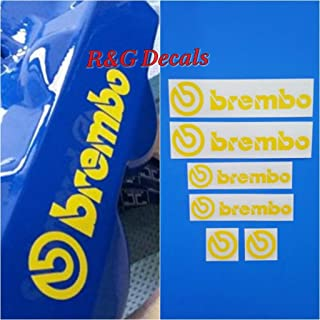 R&G Brembo Decal Combo Package for 6 Piston & 4 Piston & Brembo Logos Brake Caliper Decal Sticker High Temp Set of 6 Decals (Yellow)