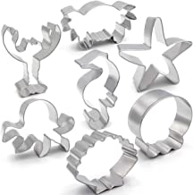ANPOPO Under The Sea Cookie Cutter Set - 7 Piece - Seashell, Octopus, Seahorse, Starfish, Crab, Lobster and Heim Metal Coo...