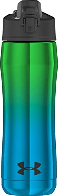 Under Armour US4010BLG4 Chrome Beyond 18 Ounce Vacuum Insulated Stainless Steel Water Hydration Bottle, 18oz, Blue/Green