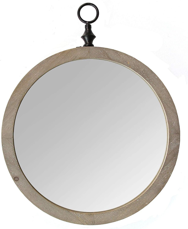 Stratton Home Décor Stratton Home Decor Catalina Mirror, 18.00 W X 1.50 D X 22.75 H, Natural Wood, Black