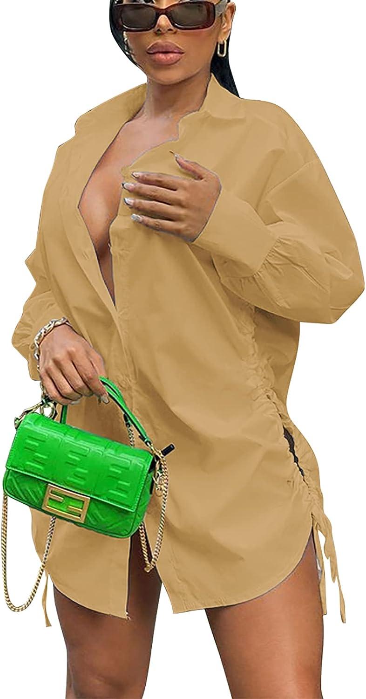 acelyn Womens Sexy V-Neck Long Sleeve Button Down Shirts Fashion Blouses Short Mini Dresses
