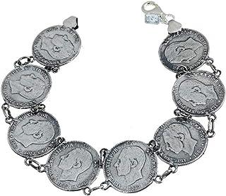 Pulsera plata ley 925m lisa monedas continua [AB0019]