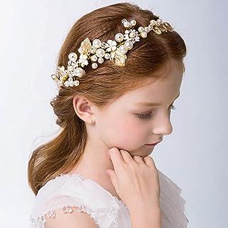 IYOU Princesa Nupcial Tocado Perlas Vestido de Pelo Tiara Hojas Santa Comunión Cabello Vine para Flores Niñas y Damas de H...