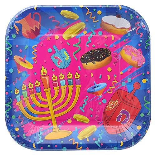 Hanukkah Plates - Hanukkah Paper Goods - 7 Inch - Serves 10
