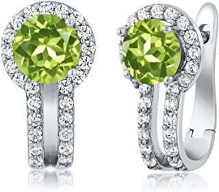 Gem Stone King 925 Sterling Silver Green Peridot and White Created Sapphire Women Earrings (1.70 Cttw, Gemstone Birthstone...