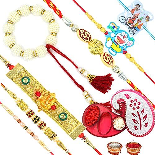 Rakshabandhan Combo Set Rakhi para Brother Bhabhi Kids Bhai bro y Family/OM Rakhi, Ganpati Pulsera chapada en oro Rakhi, Pearl Lumba Rakhi, niños Rakhi con Thali