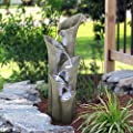 """Chillscreamni Outdoor Waterfall Fountain - 39 1/2"""" H Garden Fountains Outdoor Designed with 5-Tiered Cylindrical&LED Lights for Indoor-Outdoor Decor, Cascading Water Features Outdoor for Relaxing"""