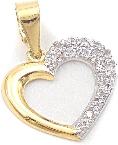 Suspension de mode pour femme en or de 18Kilates de mi loi 750Milésimas, coeur moitié or jaune lisse et l'autre moitié en or blanc avec Zircon