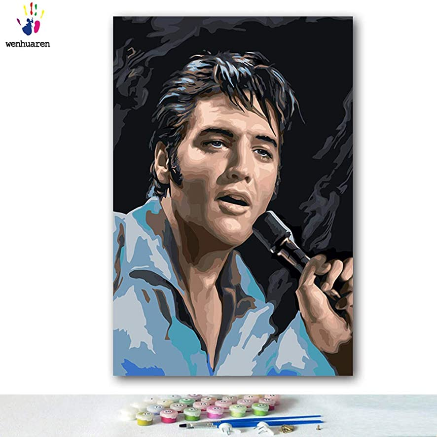 Paint by Number Kits Canvas DIY Oil Painting for Kids, Students, Adults Beginner with Brushes and Acrylic Pigment -Elvis Aron Presley (3191, 16x20 no Frame)