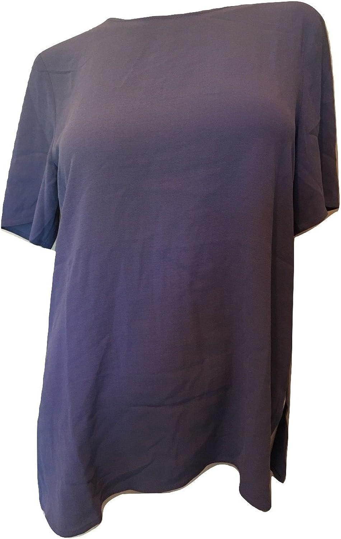 EileenFisher Women's Round Neck Short Sleeve Box Top Silk Tee, Blang Purple, Small