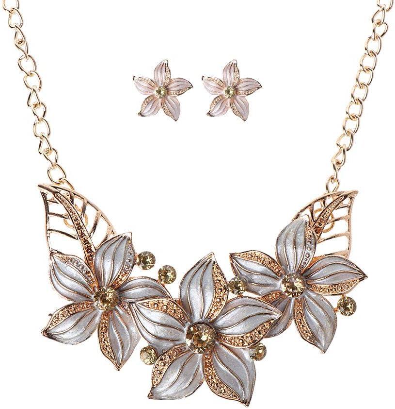 Jilin Fashion Women Gold depot Plated Crystal Flower Necklac Statement Award