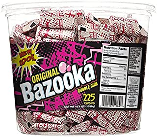 Bazooka Bubble Gum, Original Flavor, 225 Count Tub, Pack of 1