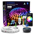 Led Strip Lights, Charkee Smart Led Lights, 16.4ft RGB Color Changing Light with Remote and Power Supply, Work with Alexa and Google Assistant for Room, Bedroom, Kitchen