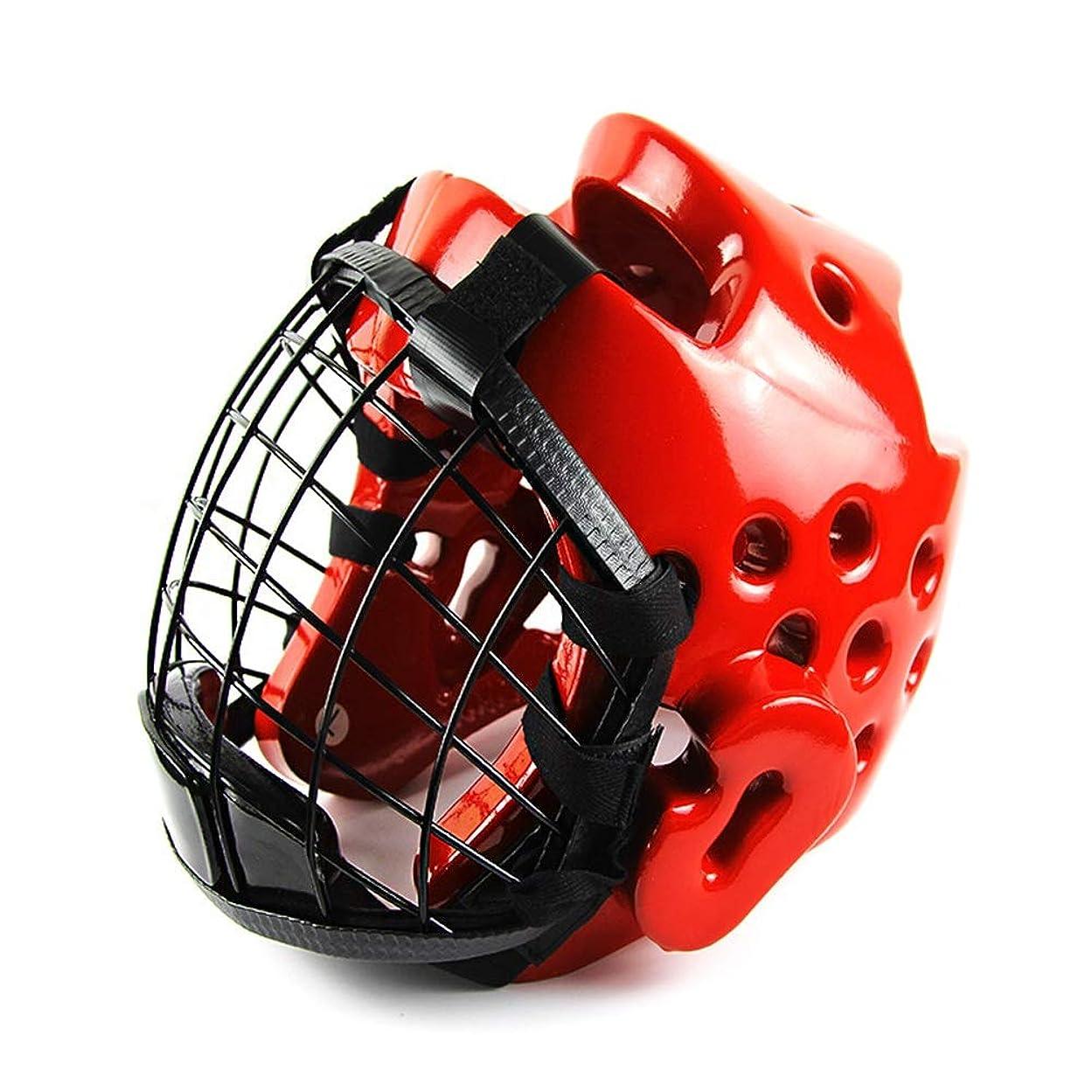 血統検査官ずらすヘッドギアヘッドガードトレーニングヘルメットキックボクシングプレテクションギア ボクシングヘッドギア (色 : 赤, サイズ : L)
