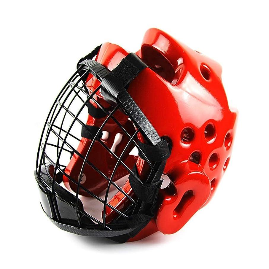 帰る手綱ラウズヘッドギアヘッドガードトレーニングヘルメットキックボクシングプレテクションギア ボクシングヘッドギア (色 : 赤, サイズ : L)