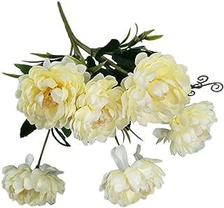AkoMatial artificiale Fiori finti, 1Pc colorato artificiale crisantemo simulazione Fiori realistici Home Decor - Bianco Latte