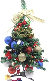 H&W 60cm/24 Inch Mini DIY Artificial Christmas Tree,with Ornaments Christmas Sign, Christmas Ball, Big Bow, Mini Bow, Drum, Gift Package, Santa Claus