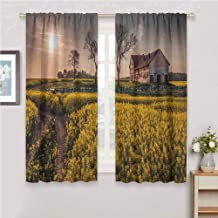 GUUVOR Country Home All Season Insulation Old Abandoned Rural House Floral Meadow Idyllic Village Pastoral Landscape Noise Reduction Curtain Panel Living Room W54 x L72 Inch Multicolor