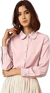 Allegra K Women's Lace Trim Peter Pan Collar Button Down Shirt Long Sleeves Blouse