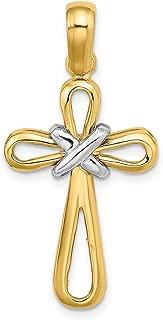 Lex & Lu 14 Yellow Gold w/Rhodiumand Polished w/X Center Cross Charm