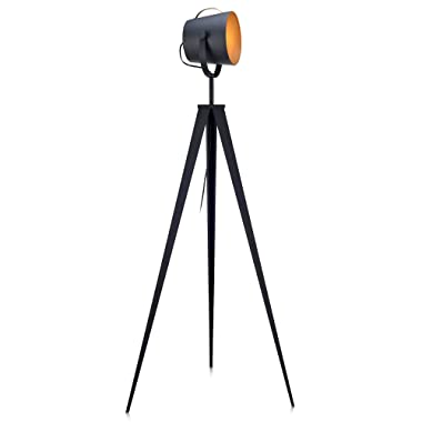 Versanora VN-L00020 Industrial Tripod Floor Lamps, Black/Gold