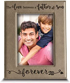 BELLA BUSTA- The Love Between a Father and Son is Forever from Son-Dad Gifts- Engraved Leather Picture Frame (5