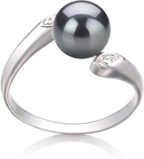 Dana Black 6-7mm AAA Quality Freshwater 925 Sterling Silver Cultured Pearl Ring For Women
