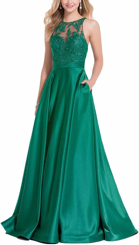 GMAR Women's A Line Lace Appliques Prom Dresses Open Back Evening Gowns Pockets