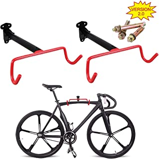 PHUNAYA Bike Hanger 2pcs Wall Mount Bike Hook Horizontal Foldable Bicycle Holder Garage Bike Storage Bicycle Hoist Heavy Duty Screws
