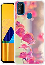 Fashionury Pink Leaves Printed Mobile Soft Back Cover Case Compatible for Samsung Galaxy M30s