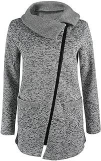 Womens Casual Asymmetrical Zip-up Hooded Jacket Coat Sweatshirt Winter Outwear