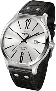 Men's TW Steel Slimline Silver Dial and Black Leather Watch