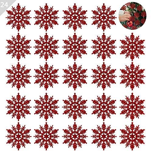 ASANMU 24 Pezzi Fiocchi di Neve Decorativi Natale Decorazione dell'Albero di Natale Fiocchi di Neve Glitter di Plastica Ornamenti per Albero di Natale Party Decorazione per Festa (Rosso, 10CM)