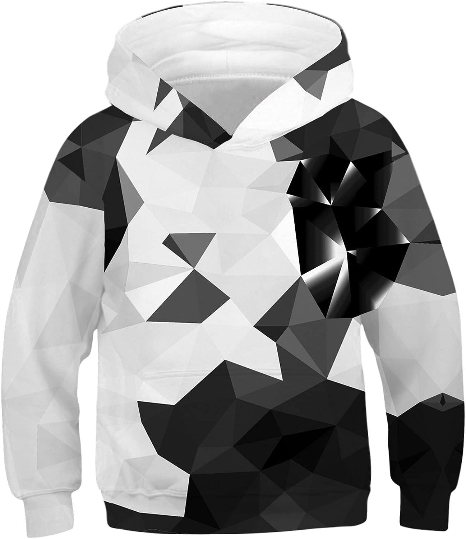 ALUWU Boys Girls Hoodies Kid 3D Print Pullover Sweatshirt With Pocket Size 5-14T