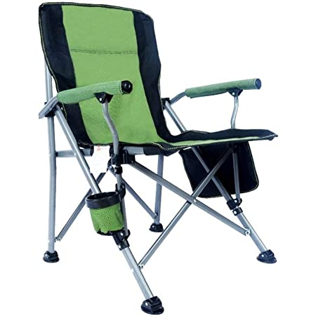 Outdoor Portable Camping Chair, Lightweight Folding Camping Chair, Heavy Duty Support 330 lbs, High Back Padded Lawn Chair with Arm Rest Cup Holder and Portable Carrying Bag, Dark Green