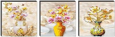 SAF Set of 3 Flower Pot UV Digital Reprint 12 inch x 36 inch Painting SANFSS40