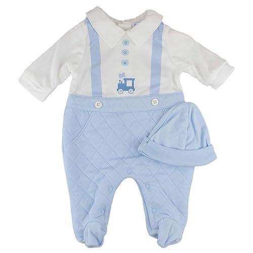 Newborn Baby Boys Spanish Style Blue Train Babygrow Sleepsuit Romper   Hat  Set 05e277b3f8e