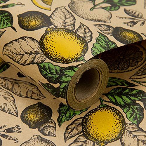 RUSPEPA Kraft Geschenkpapierrolle - Lemon Design Ideal Für Sommer, Urlaub Und Besondere Anlässe Geschenkverpackung - 76CM X 10M