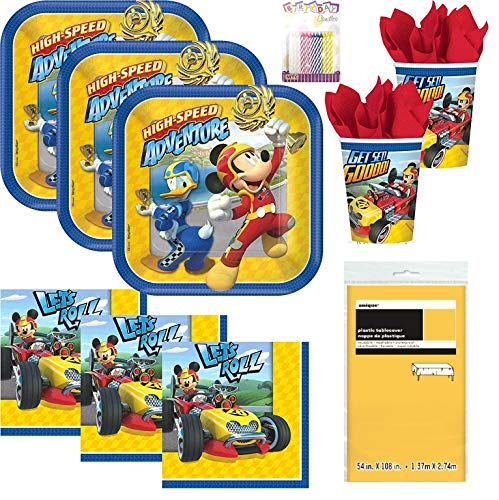 Disney Mickey Roadster Party Supplies Pack Serves 16: Dessert Plates, Beverage Napkins, Cups, Table Cover and Birthday Candles