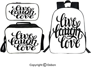 Oobon Kids Toddler School Waterproof 3D Cartoon 16″ Backpack, Simplistic Inspiration Quote Minimalist Featured Typography Design Decorative, with Lunch bag Pencil bag Three-piece