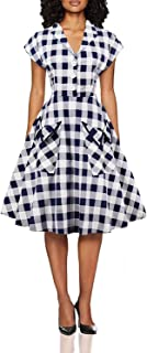 Wellwits Women's Short Batwing Sleeves Plaid Swing Shirt Dress with Pocket